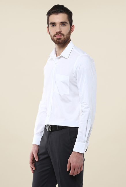 Turtle White Solid Full Sleeve Cotton Shirt