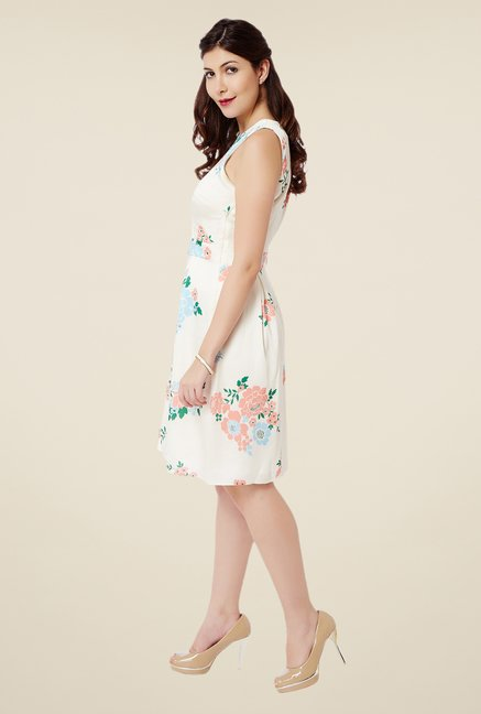 Avirate Off White Floral Print Dress