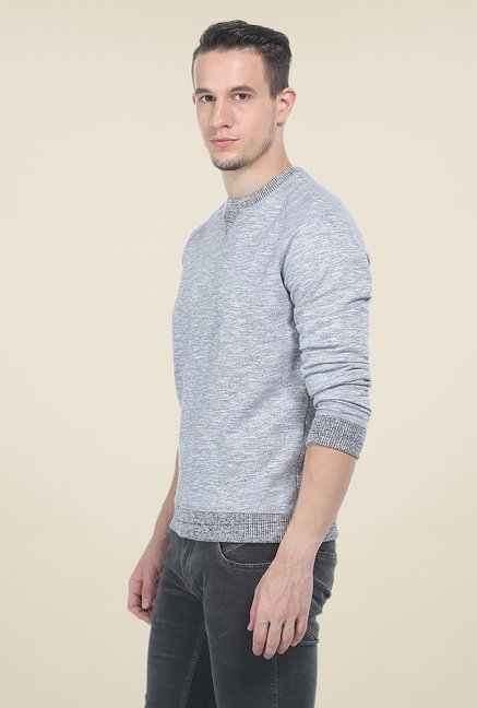Basics Grey Self Print Sweatshirt