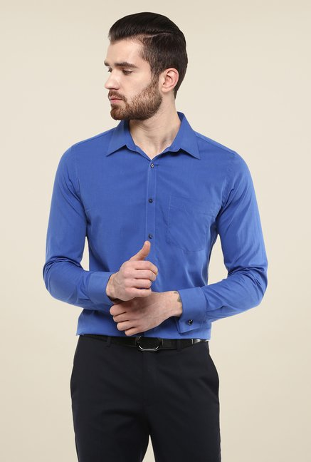 Turtle Blue Solid Slim-fit Shirt