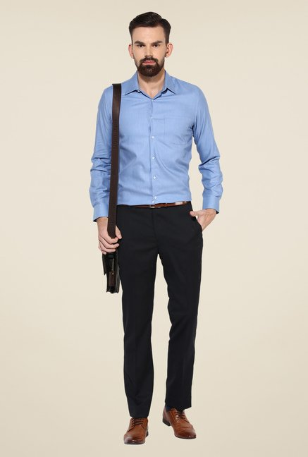 Turtle Blue Solid Cotton Shirt