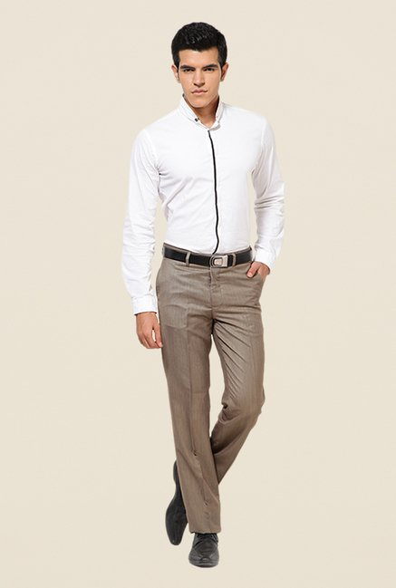 Turtle Beige Terry Rayon Solid Trousers