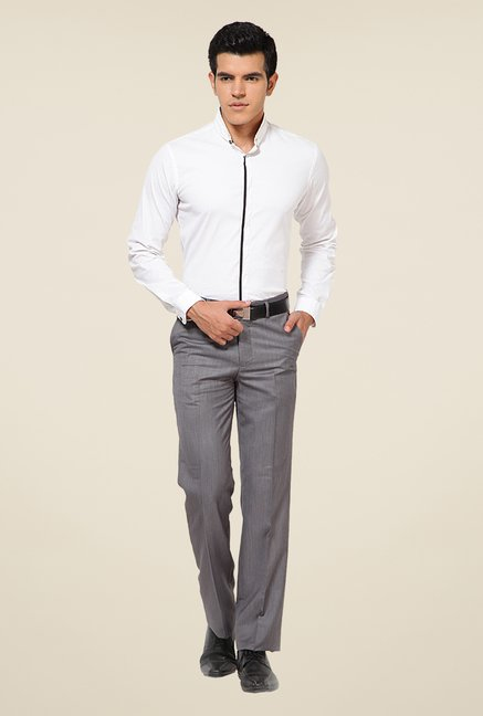 Turtle Grey Terry Rayon Solid Trousers