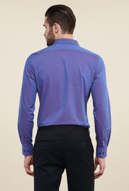 Turtle Purple Solid Full Sleeve Slim Fit Cotton Shirt