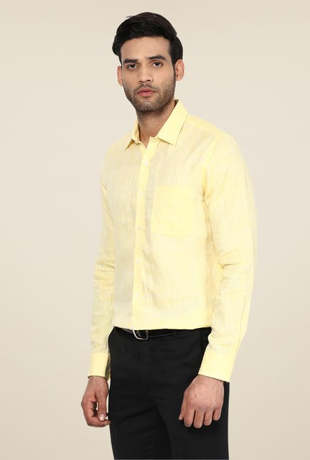 Turtle Yellow Linen Slim-fit Shirt