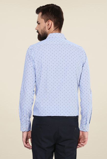 Turtle Blue Printed Slim Fit Cotton Shirt
