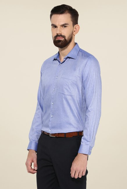 Turtle Blue Printed Full Sleeve Slim Fit Cotton Shirt