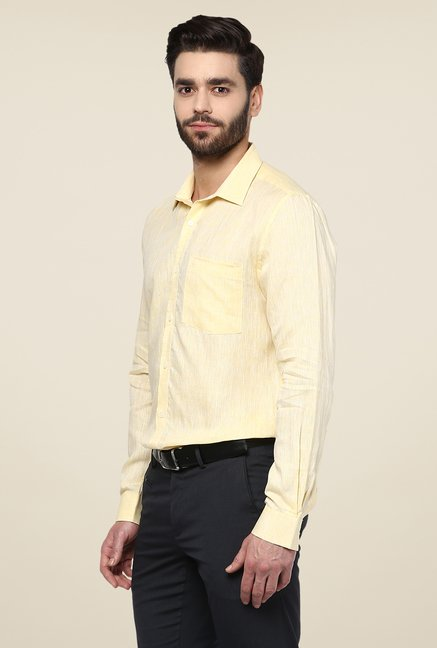 Turtle Yellow Linen Full Sleeve Slim-fit Shirt