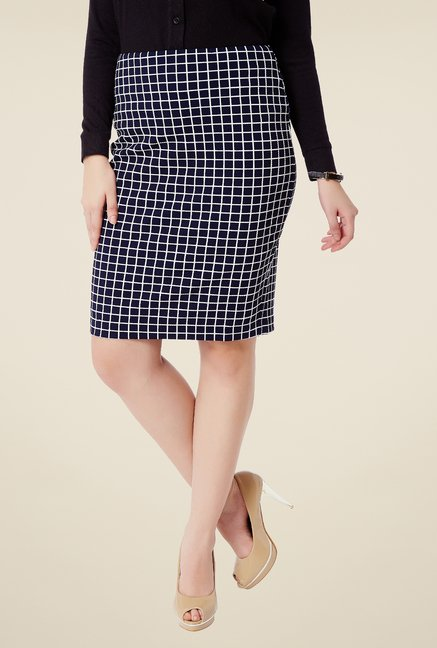 Avirate Navy Checks Skirt