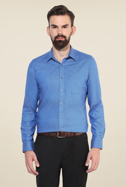 Turtle Blue Textured Full Sleeve Shirt