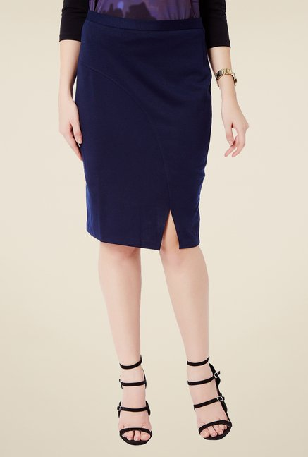 Avirate Navy Solid Skirt