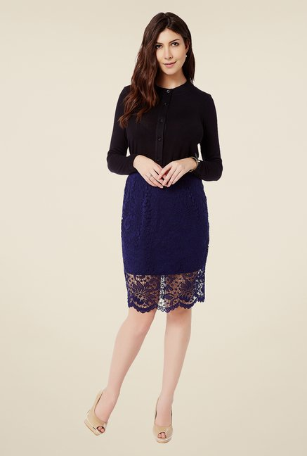 Avirate Navy Lace Skirt