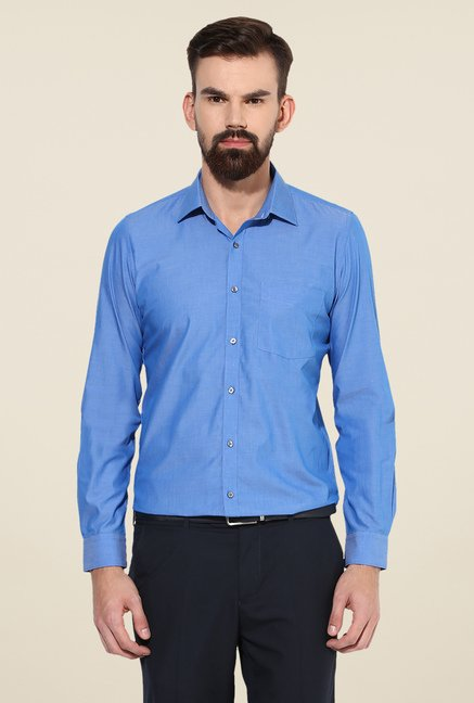 Turtle Blue Slim Fit Cotton Shirt