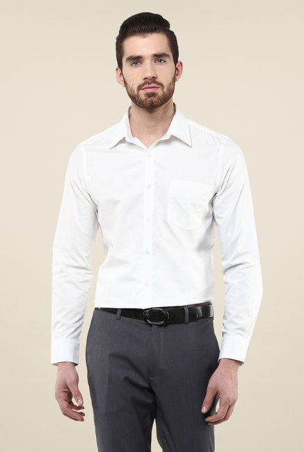 Turtle White Slim Fit Cotton Shirt