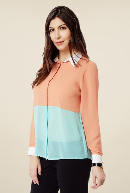 Avirate Peach & Blue Solid Top