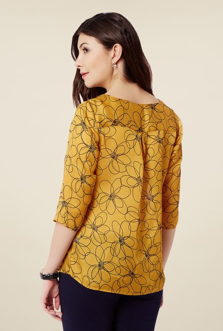 Avirate Yellow Floral Print Top