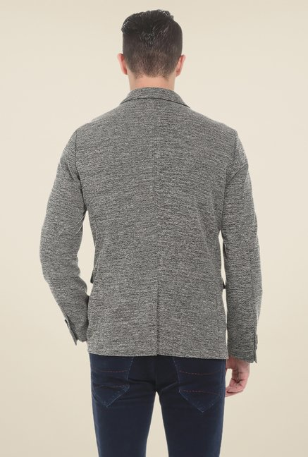 Basics Cloud Burst Grey Self Print Knit Blazer