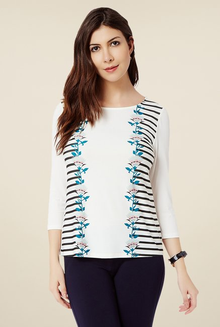 Avirate Off White Printed Top