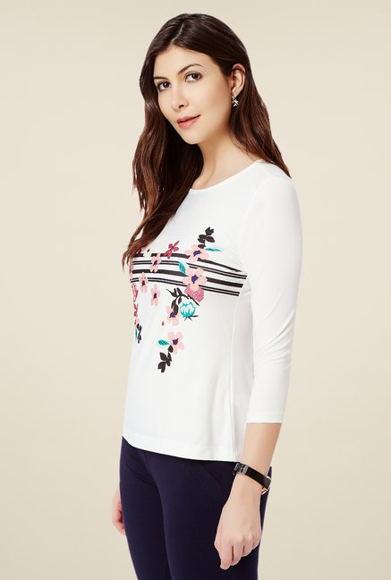 Avirate Off White Floral Print Top