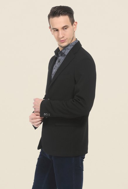 Basics Anthracite Black Self Print Knit Blazer