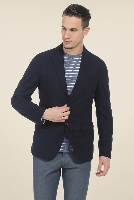 Basics Navy Self Print Knit Blazer