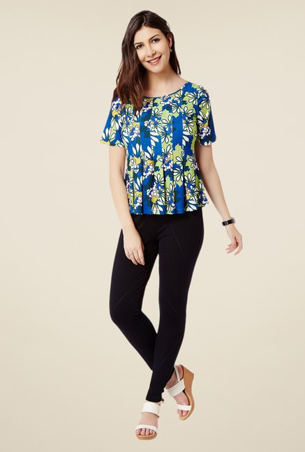 Avirate Blue & Green Floral Print Top