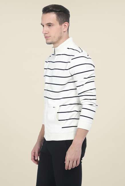 Basics Off White Striped Jacket