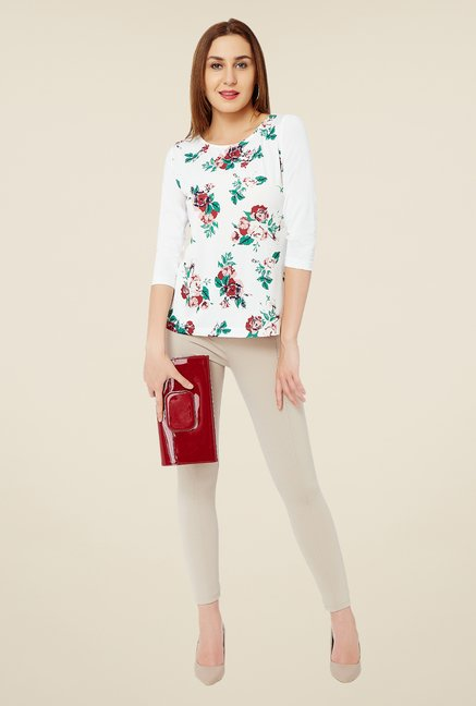 Avirate White Floral Print Top