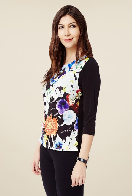 Avirate Black Floral Print Top