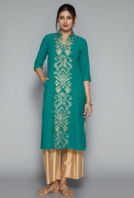 Utsa by Westside Green Printed Kurta