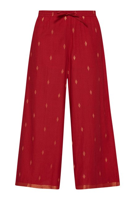 Utsa by Westside Dark Red Printed Palazzo