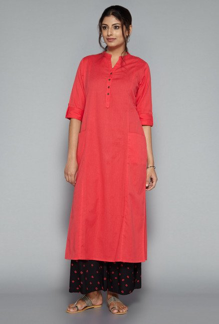 Utsa by Westside Coral Solid Kurta