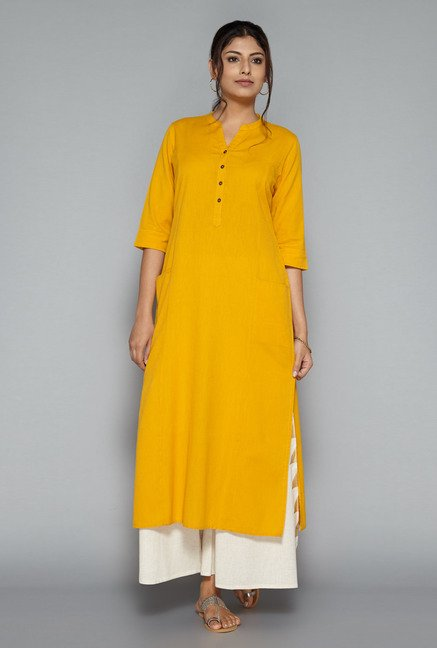 Utsa by Westside Yellow Solid Kurta