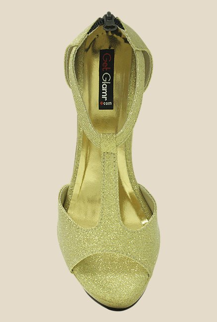 Get Glamr Meg Golden Back Strap Sandals