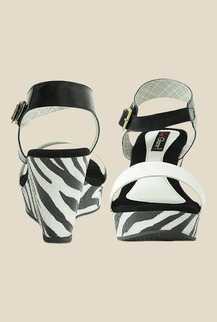 Get Glamr Amy Black & White Ankle Strap Wedges