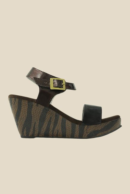 Get Glamr Amy Brown & Black Ankle Strap Wedges