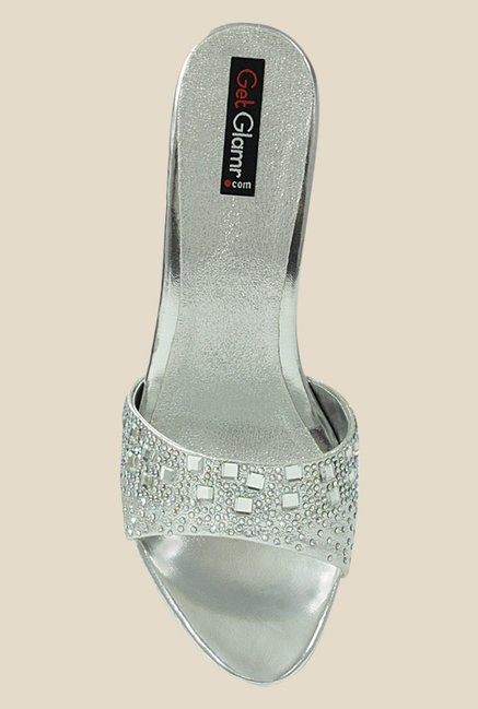 Get Glamr June Silver Ethnic Sandals