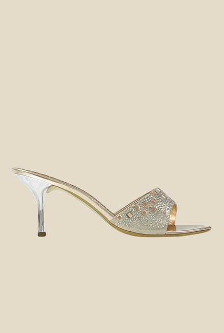 Get Glamr June Golden Ethnic Sandals