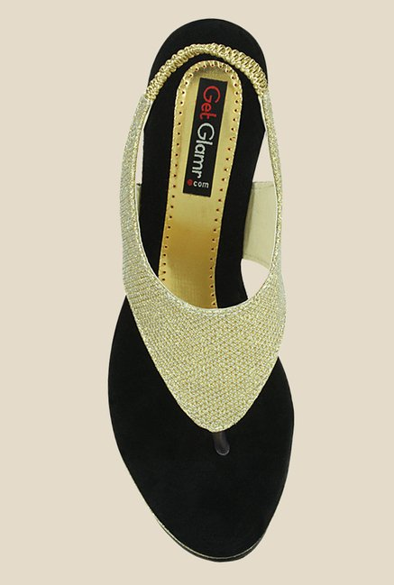 Get Glamr Marry Golden Sling Back Wedges