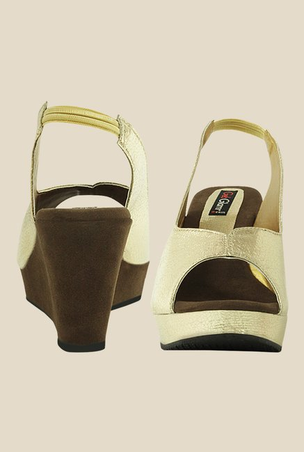 Get Glamr Sandberg Golden Sling Back Wedges