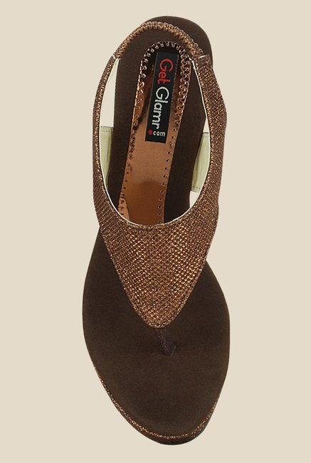 Get Glamr Marry Bronze Sling Back Wedges