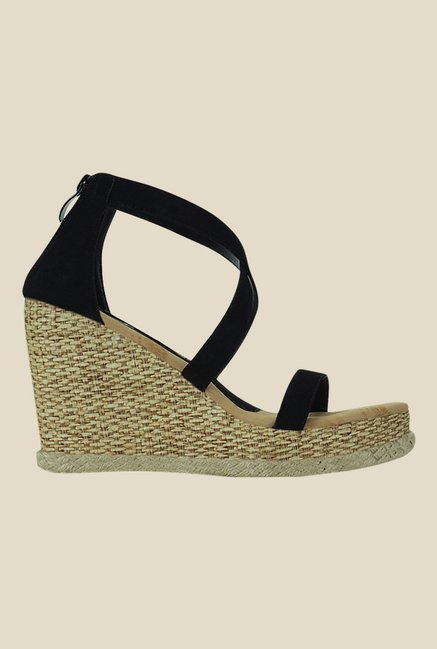 Get Glamr Zerina Black Cross Strap Wedges