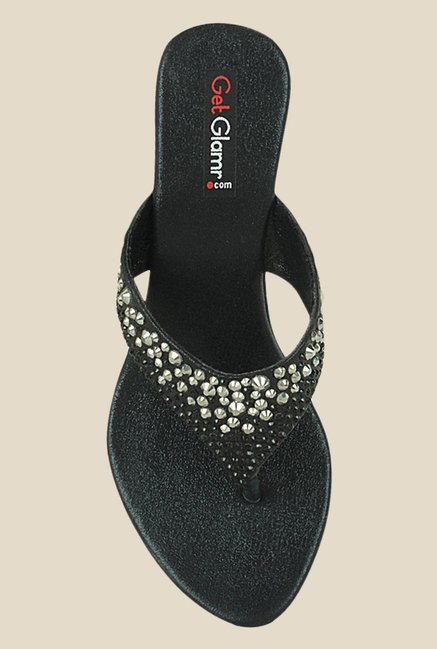 Get Glamr Dough Black Thong Sandals