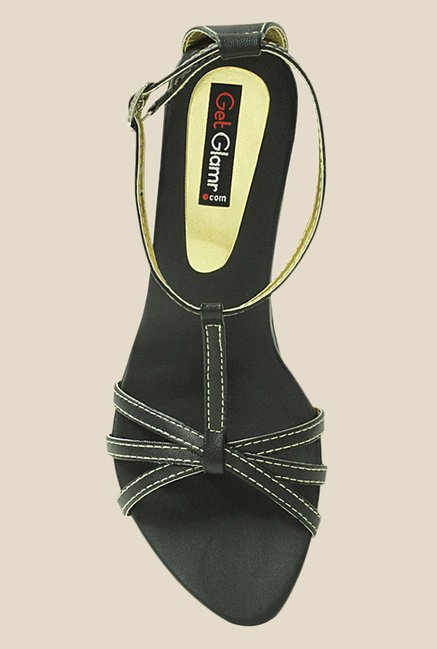 Get Glamr Gracas Black Ankle Strap Wedges