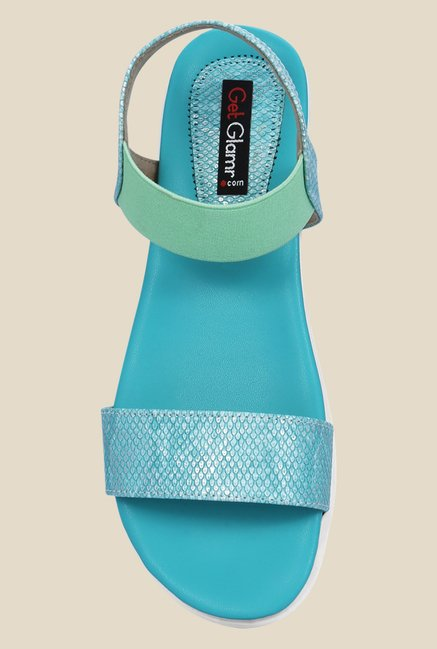 Get Glamr Sara Blue & Green Sling Back Sandals