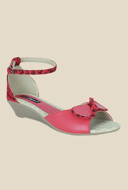 Get Glamr Rhia Red Ankle Strap Wedges