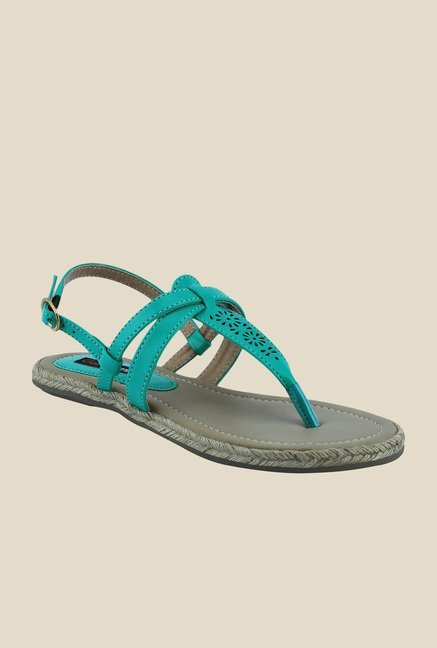 Get Glamr Knight Green Ankle Strap Sandals