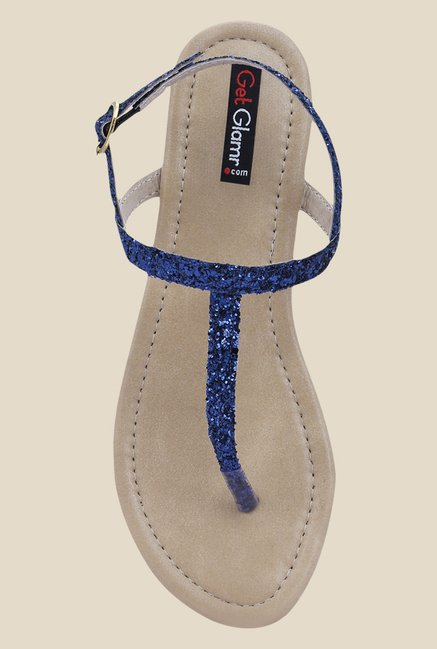 Get Glamr Joan Navy Blue Back Strap Sandals