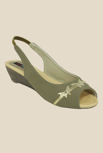 Get Glamr Sue Olive Sling Back Wedges