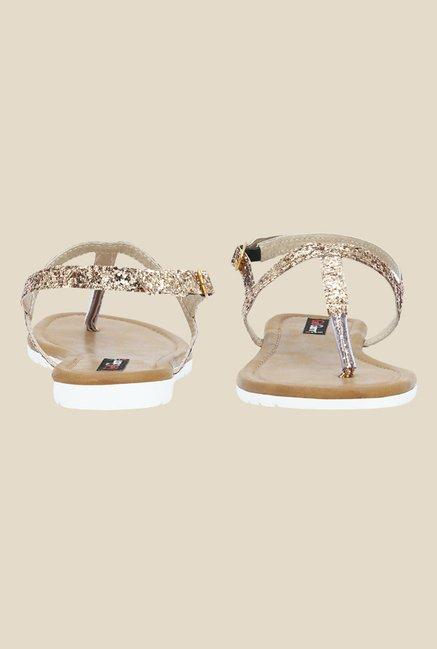 Get Glamr Joan Antique Gold Back Strap Sandals